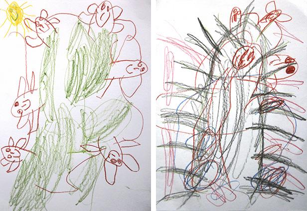 Evelínka nakreslila šťastné opičky na jejich domáckém stromu. Potom za mnou přišla s druhým obrázkem těch nešťastných na spáleném stromu.